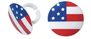 Round American Flag Cupcake Rings (12 pieces)