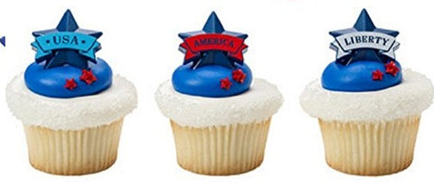 America Liberty USA Cupcake Rings (12 pieces)