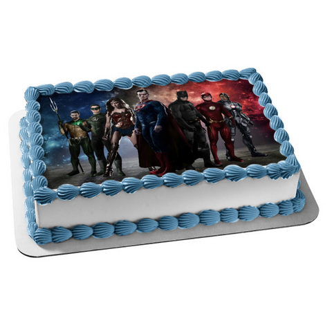 DC Comics Justice League Superman Batman Wonder Woman Green Lantern the Flash Cyborg Aquaman Edible Cake Topper Image ABPID22076