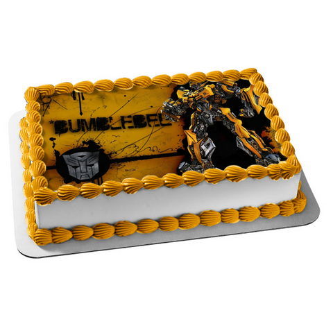 Transformers Autobot Bumblebee Standing Logo Yellow Background Edible Cake Topper Image ABPID01233