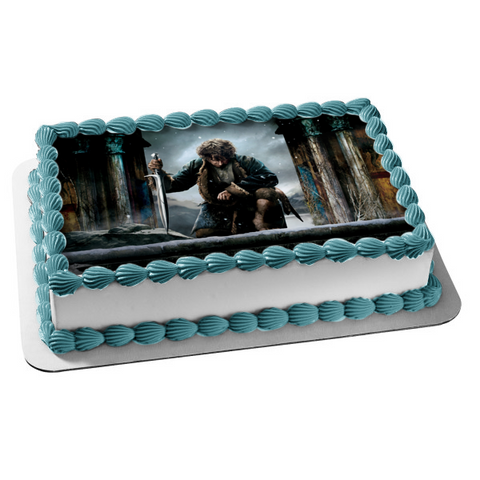 The Hobbit Bilbo Baggins Kneeling Sword Edible Cake Topper Image ABPID01266