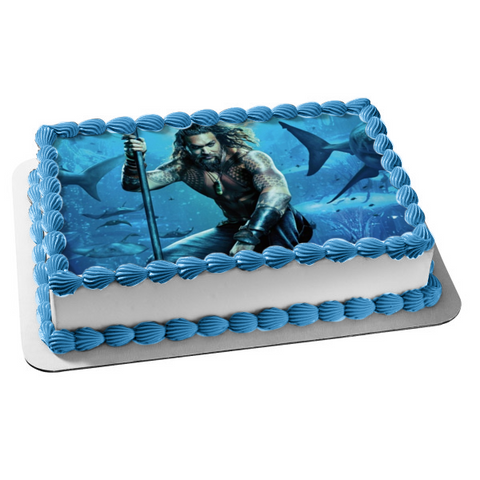 DC Comics Aquaman Under Water Sharks Fish Swimming Edible Cake Topper Image ABPID01267