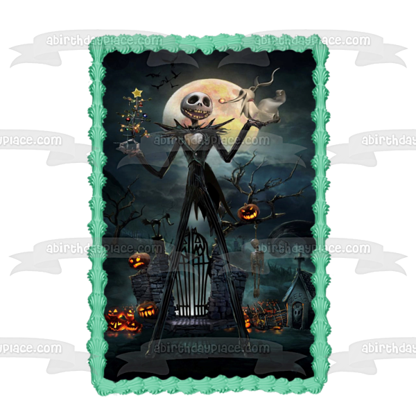 Nightmare Before Christmas Jack Skellington Christmas Tree Spooky Jack-O-Lanterns Edible Cake Topper Image ABPID53015