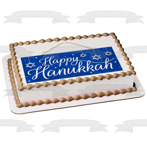 Happy Hanukkah Star of David Edible Cake Topper Image ABPID53053