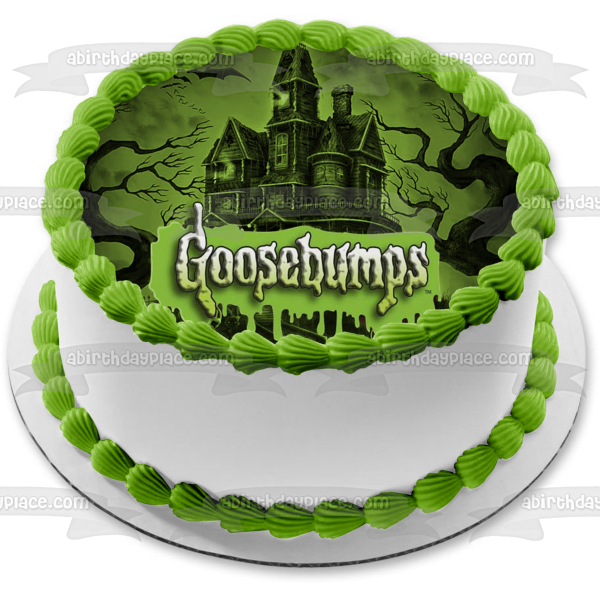 Goosebumps Bats Haunted Castle Scary Trees Edible Cake Topper Image ABPID05028