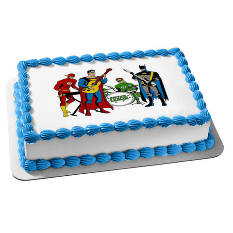 DC Comics Music Band Justice League Superman Batman Green Lantern the Flash Guitars Keyboard Drums Edible Cake Topper Image ABPID01307