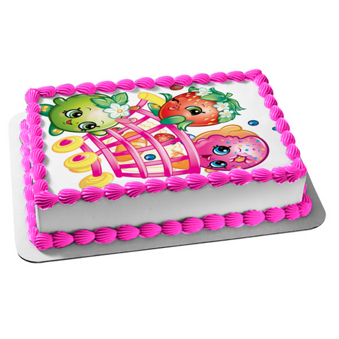 Shopkins Shopping Cart D'Lish Donut Strawberry Kiss Apple Blossom Edible Cake Topper Image ABPID01316