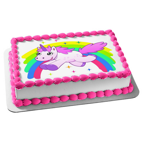 Unicorn Rainbow Stars Edible Cake Topper Image ABPID01335