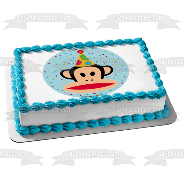 Julius the Monkey Paul Frank Birthday Hat Edible Cake Topper Image ABPID01373