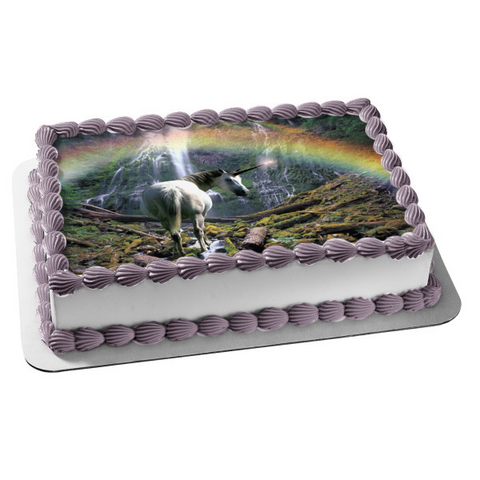 White Unicorn Rainbow Waterfall Trees Edible Cake Topper Image ABPID01474
