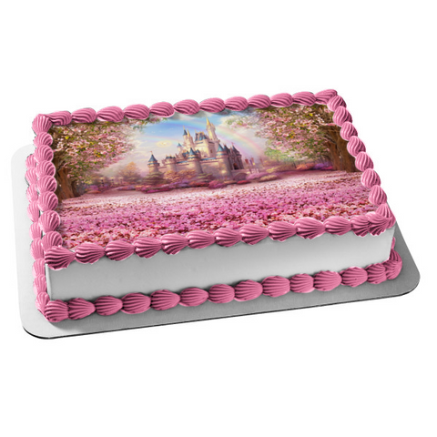 Snow White Castle Pink Flowers Rainbow Disney Edible Cake Topper Image ABPID01546