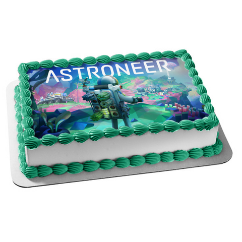 Astroneer Crafting Video Game Space Astronaut Edible Cake Topper Image ABPID53216