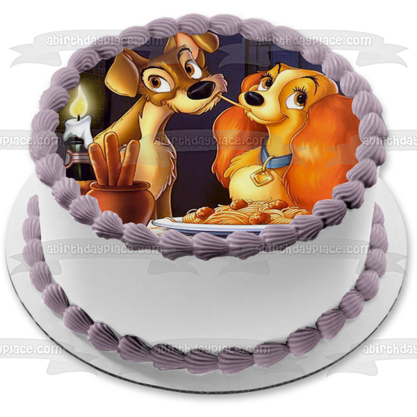 Lady and the Tramp Spaghetti Scene Edible Cake Topper Image ABPID50325