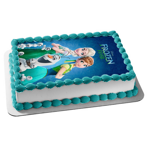 Disney Frozen Fever Elsa Anna Olaf Edible Cake Topper Image ABPID01801