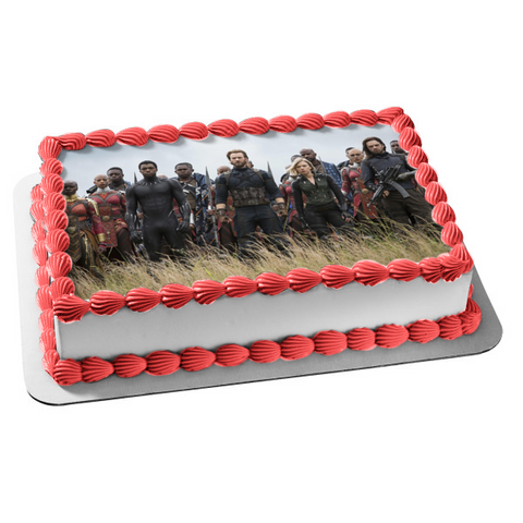 Marvel Avengers Infinity War Iron Man Thor the Hulk Black Widow Bucky Barnes Edible Cake Topper Image ABPID01806