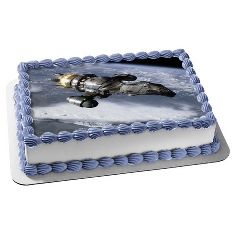 Serenity Firefly Class Spaceship Orbiting Planet Edible Cake Topper Image ABPID01875