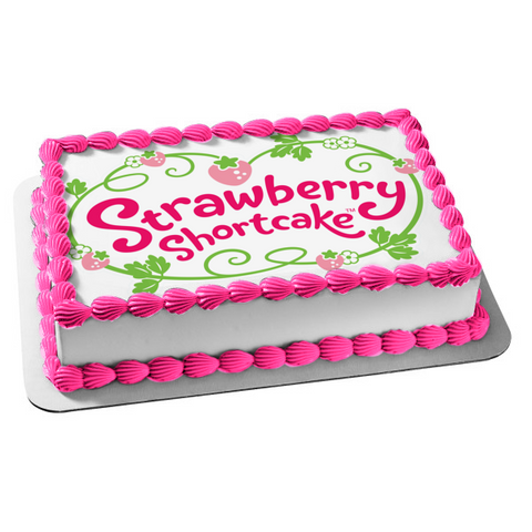 Strawberry Shortcake Cartoon Logo Plant Flowers Edible Cake Topper Image ABPID03180
