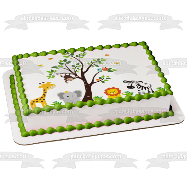 Jungle Safari Animals Giraffe Owl Monkey Lion Elephant Zebra Tree Birds Edible Cake Topper Image ABPID03210