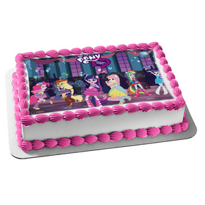 My Little Pony Equestria Girls Twilight Sparkle Pinkie Pie Edible Cake Topper Image ABPID03215