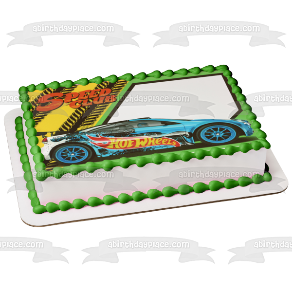 Mattel Hot Wheels Speed Club Blue Car Edible Cake Topper Image ABPID03339