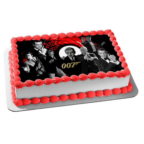 James Bond 007 Sean Connery Daniel Craig Pierce Brosnon Edible Cake Topper Image ABPID03351