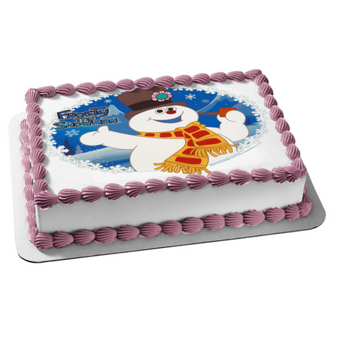Frosty the Snowman Snowflakes Magic Hat Christmas Edible Cake Topper Image ABPID03369