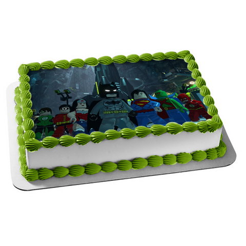 LEGO Batman 3 Superman Wonder Woman the Flash Green Lantern Justice League Martian Manhunter Edible Cake Topper Image ABPID03411