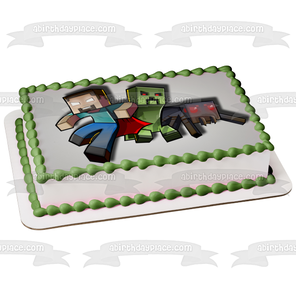 Minecraft Herobrine Creeper Spider Steve Edible Cake Topper Image ABPID03477