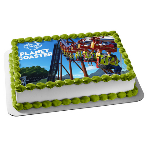Planet Coaster Roller Coaster Building Theme Park Game Edible Cake Topper Image ABPID53360