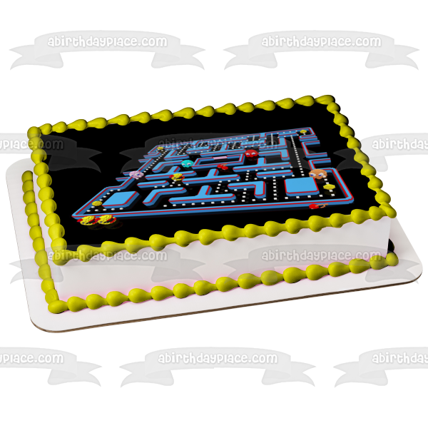 Pac-Man Nemco Inky Blinky Pinky Clyde Fruit Edible Cake Topper Image ABPID03633