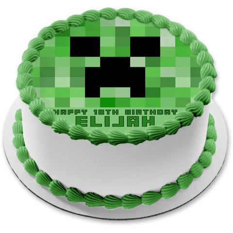 Minecraft Creeper Face Green Edible Cake Topper Image ABPID27364