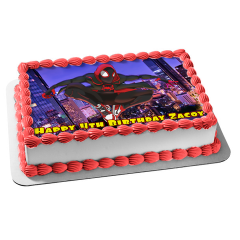Marvel Spider-Man Into the Spider-Verse Miles Morales Edible Cake Topper Image ABPID01849