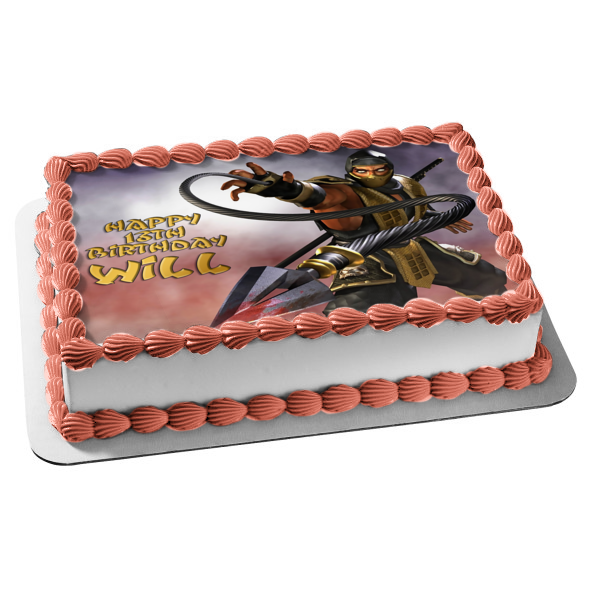 Mortal Kombat Deadly Alliance Scorpion Edible Cake Topper Image ABPID03325