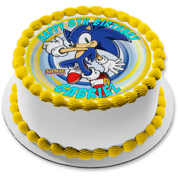 Sonic the Hedgehog Logo Sonic Yellow Blue Spiral Background Edible Cake Topper Image ABPID04706