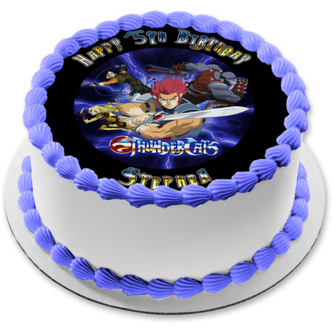 Thundercats Lion-O Cheetara Panthro Tygra Happy Birthday Your Personalized Name Edible Cake Topper Image ABPID52998