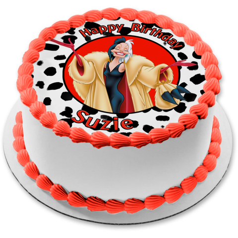 Disney 101 Dalmatians Cruella De Ville Happy Birthday Your Personalized Name Edible Cake Topper Image ABPID52851