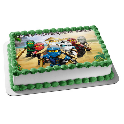 The LEGO Ninjago Movie Lloyd Sensei Wu Fuchsia Ninja Zane Kai Jay Edible Cake Topper Image ABPID00025