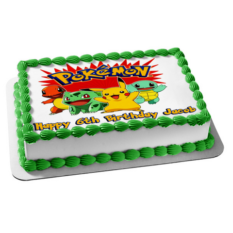 Pokemon Pikachu Bulbasaur Squirtle Charmander Edible Cake Topper Image ABPID00117