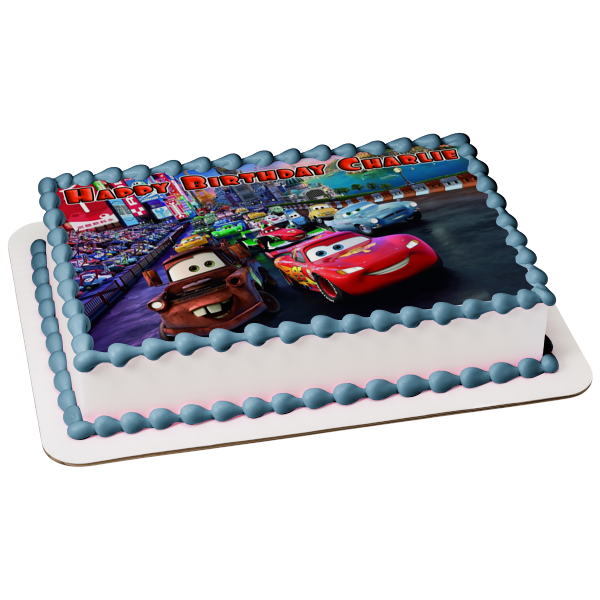 Disney Cars Lightening McQueen Race Track Mater Sally Filmore Luigi Edible Cake Topper Image ABPID00528
