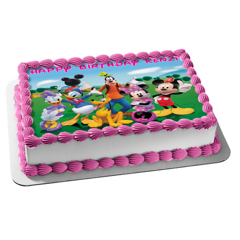 Mickey Mouse Clubhouse Minnie Mouse Goofy Pluto Donald Duck Daisy Duck Disney Group Edible Cake Topper Image ABPID07138