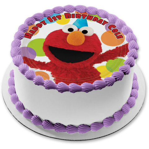 Elmo Sesame Street Smiling Party Hat Dots Edible Cake Topper Image ABPID01376