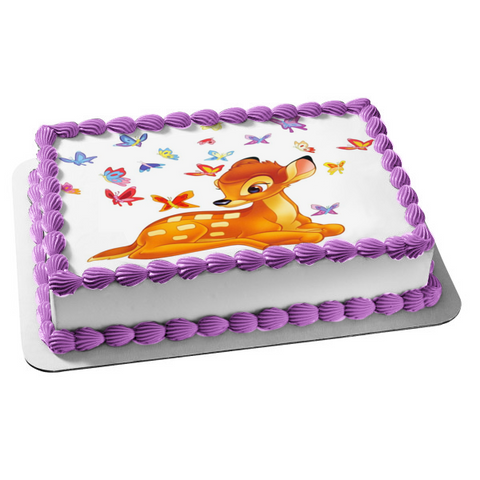 Disney Bambi Blue Red Purple Butterflies Edible Cake Topper Image ABPID03665