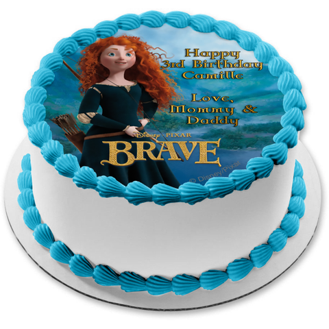 Disney Brave Merida Mountains Bow and Arrow Edible Cake Topper Image ABPID07953