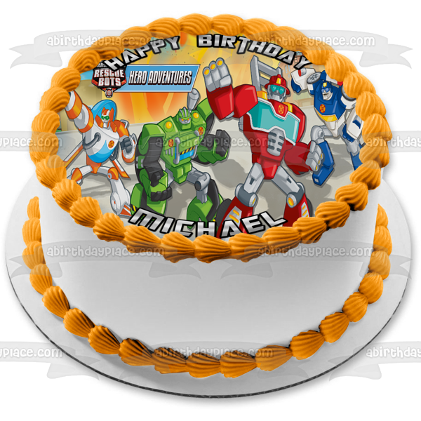 Transformers Rescue Bots Hero Adventures Heatwave Boulder Blades Optimus Prime Edible Cake Topper Image ABPID15002