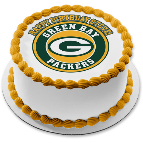 Green Bay Packers Logo NFL Green and Yellow Background Edible Cake Topper Image ABPID21989