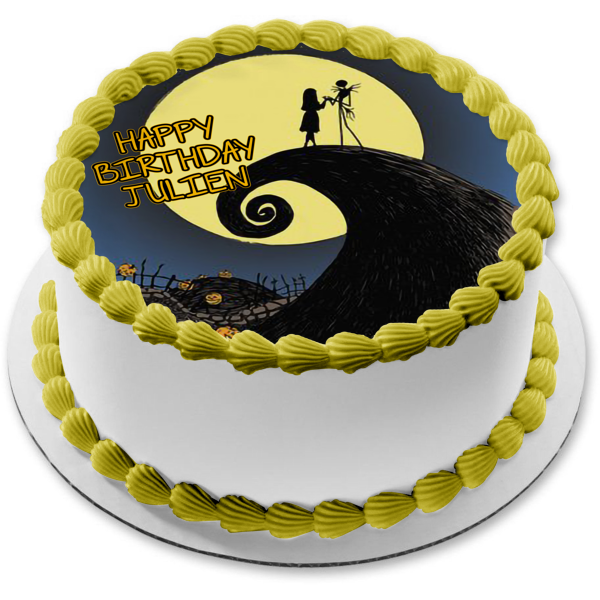 Nightmare Before Christmas Jack Skellington Sally Moonlight Pumpkins Edible Cake Topper Image ABPID27647