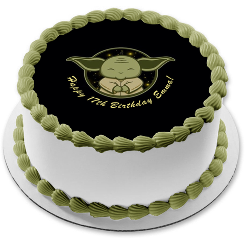 Star Wars Day Baby Yoda with You May the Fourth Be Edible Cake Topper Image ABPID51243