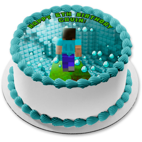 Minecraft Blue Diamonds Blocks Steve Edible Cake Topper Image ABPID51123