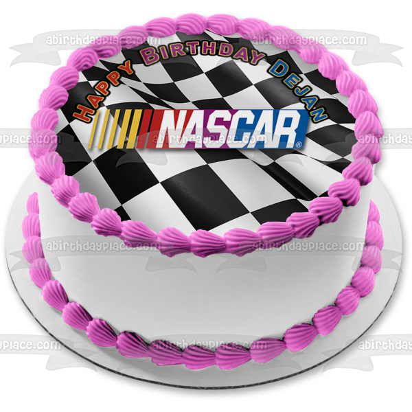 Nascar Logo Checker Background Edible Cake Topper Image ABPID51166