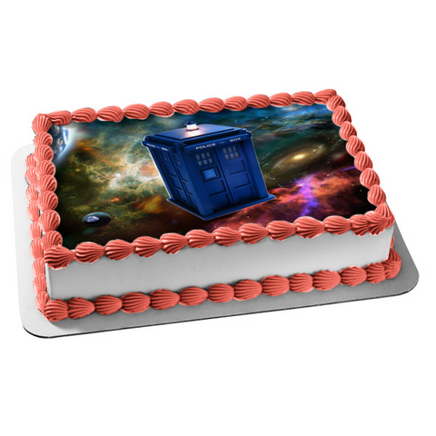 Doctor Who Police Box Galaxy Time Travel Machine Edible Cake Topper Image ABPID03697